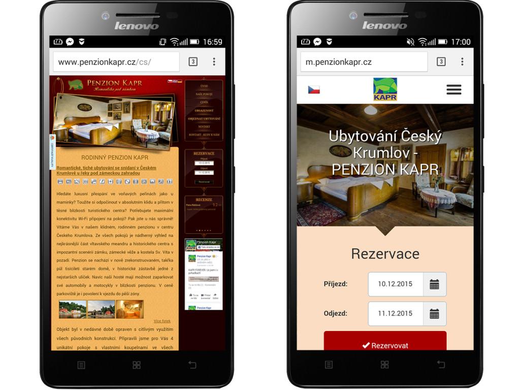 Klasicky vs. mobilní web
