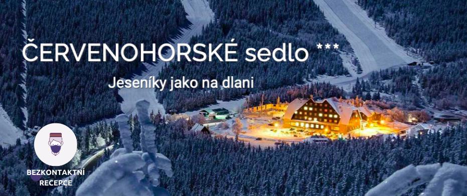 Zimní krajina Hotel Červenohorské sedlo logo bezkontaktní recepce Alfred