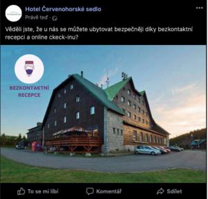 Facebook Post bezkontaktní recepce Alfred