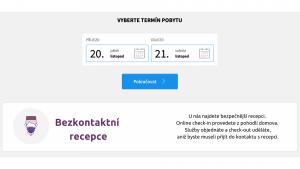 První strana rezervačního formuláře Previo, logo bezkontaktní recepce Alfred